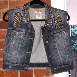 Studded denim button down collared vest top